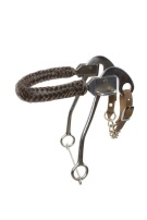 Brown Leather Braided Noseband Hackamore Bit [A6110]