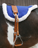 Blue Leather Bareback Pad With Stirrups Girth [B3020] (Out Of Stock)