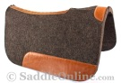 Black Leather Contour Felt Round Skirt Western Saddle Pad [B9515] (Out Of Stock)