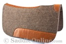 Grey Leather Contour Felt Round Skirt Western Saddle Pad [B9516]