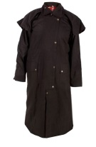 Western Full Length Australian Black Oilskin Duster Coat [C0021]