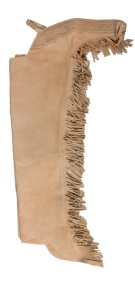 Beige Tan Leather Suede Western Horse Show Chaps Fringe [C0142]