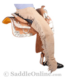 Western Horse Show Suede Leather Saddle Sand Chaps S XXL [C0145] (Out Of Stock)