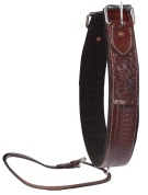 Hand Tooled Dark Brown Leather Rear Back Cinch [G0101]