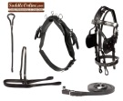 Black Leather Western Pleasure Horse Driving Harness for Cart [H6001] (Out Of Stock)