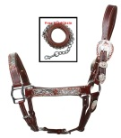 Premium Western Adjustable Dark Oil Silver Show Horse Halter [HL5005] (Out Of Stock)