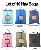 Lot of 10 Horse Top Load Hay Bag Bags Blue Pink Black Green [L10HBags] (Out Of Stock)