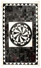 Black 5X8 Cow skin leather Cowhide Rug[R0325]