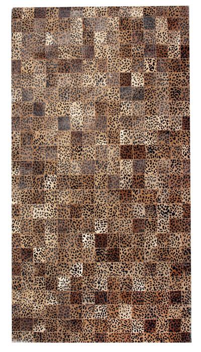 Leopard Pattern 5x8 Cow Skin Leather Cowhide Rug Carpet