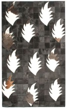 Contemporary 4X6 Cow Skin Leather Grey Cowhide Rug Carpet [R0403]