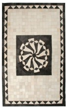Contemporary 5x8 Cow skin leather Beige Grey Cowhide Rug Carpet [R0405]
