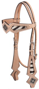 Light Oil Studded Western Horse Show Headstall with Zebra Accent [T0194H]