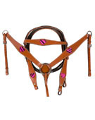 Pink Zebra Hair On Hide Heart Headstall Breast collar [T0322]