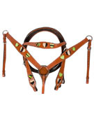 Green Hair on Hide Leather Headstall Breast Collar Tack [T0323]
