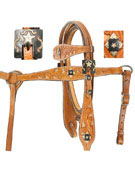 Western Leather Headstall Reins Breast Plate Filigree Tack[T0335]
