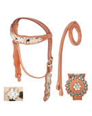 Hair On Hide Headstall Reins Horse Tack On Sale [T0359] (Out Of Stock)
