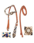 One Ear Headstall Reins Cow Hide Turquoise Crystal On Sale [T0361]