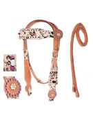 Hair On Hide Wild Purple Headstall Reins Tack Set [T0362]