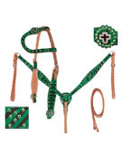 One Ear Green Zebra Headstall Reins Breast Collar For Sale [T0363] (Out Of Stock)