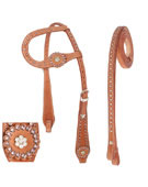 One Ear Leather Western Headstall Reins Tack Pink