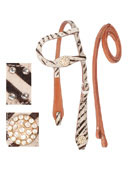 One Ear Leather Western Zebra Headstall Reins Tack Set [T0365]