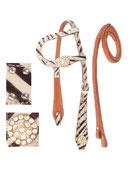 One Ear Leather Western Zebra Headstall Reins Tack Set[T0365]