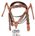 Silver Black Inlay Headstall Reins Breast Collar Show Tack Set [T0383]