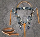 Blue Zebra Hair On Hide Studded Western Horse Tack Set [T9581]