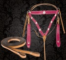 Pink Studded Western Horse Headstall Breast Collar Tack Set [T9583] (Out Of Stock)