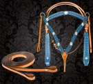 Blue Studded Western Horse Headstall Breast Collar Tack Set [T9584] (Out Of Stock)
