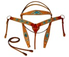 Turquoise Blue Inlay Western Horse Headstall Barrel Tack Set [T9592]