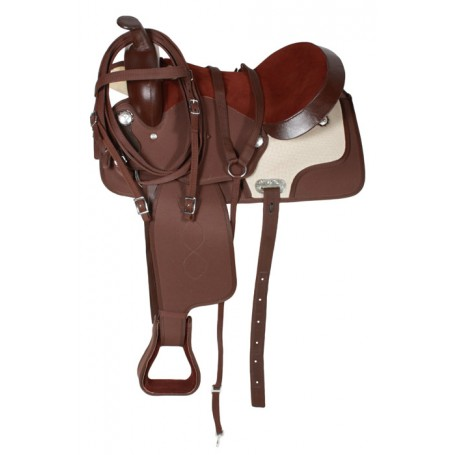 Synthetic Brown Western Horse Saddle Tack 16