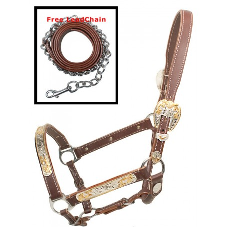 Premium Western Adjustable Brown Silver Gold Show Horse Halter