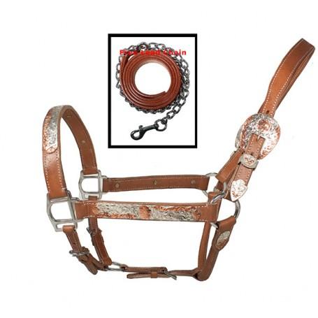 Premium  Western Adjustable Tan Silver Show Horse Halter