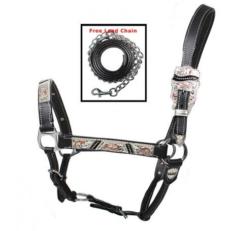Premium Adjustable Black Silver Copper Show Horse Halter