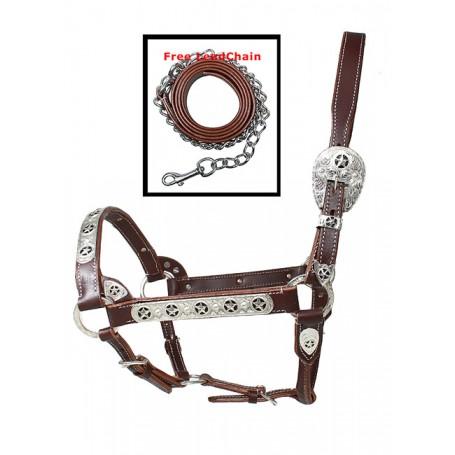 Premium Adjustable Dark Oil Texas Star Silver Show Horse Halter