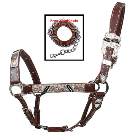 Premium Adjustable Brown Copper Silver Show Horse Halter