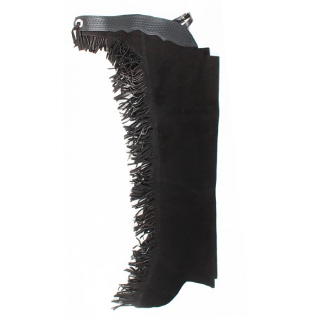 Black Leather Suede Fringe Western Horse Show Chaps
