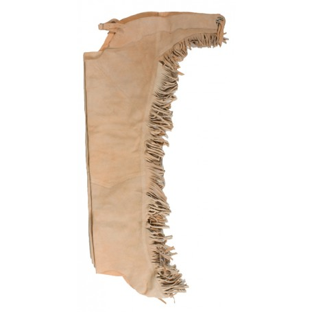 Beige Tan Leather Suede Western Horse Show Chaps Fringe