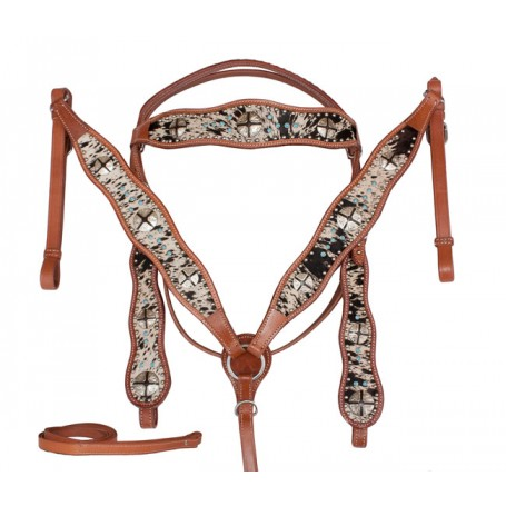 Turquoise Brindle Cowhide Horse Headstall Breast Collar