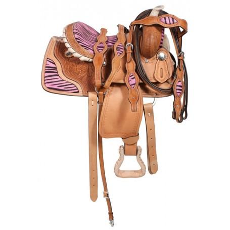 Kids Youth Pink Pony Zebra Western Saddle 10 12