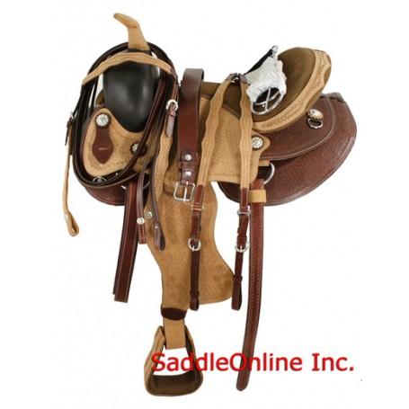 New Stunnin 16 17 Hand Tooled Two Tone Saddle