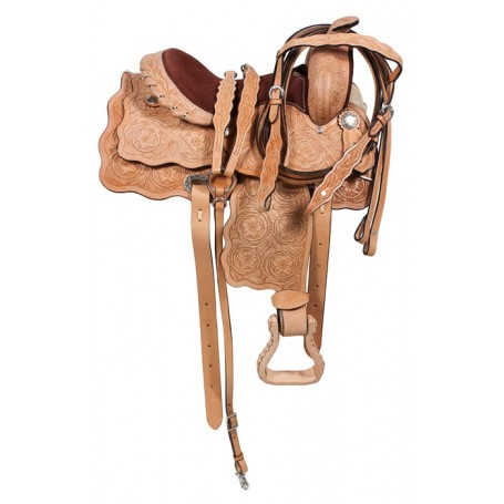 Kids Youth Leather Hand Carved QH Trail Horse Saddle 13