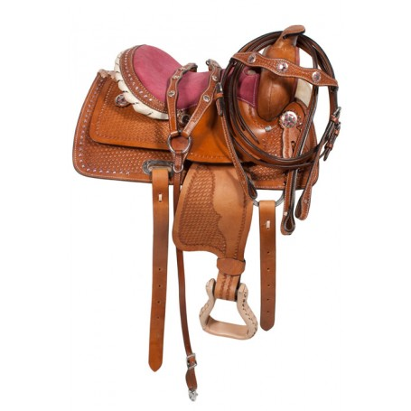 Pink Bling Texas Star Leather Kids Pony Saddle 10 12