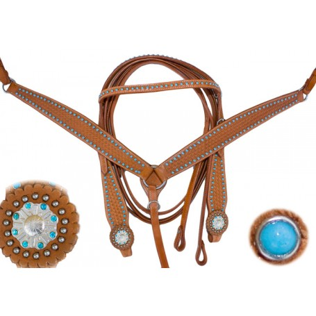 Turquoise Crystal Leather Horse Headstall Breastcollar