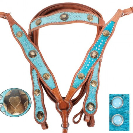 Turquoise Cowhide Leather Horse Headstall Breastcollar