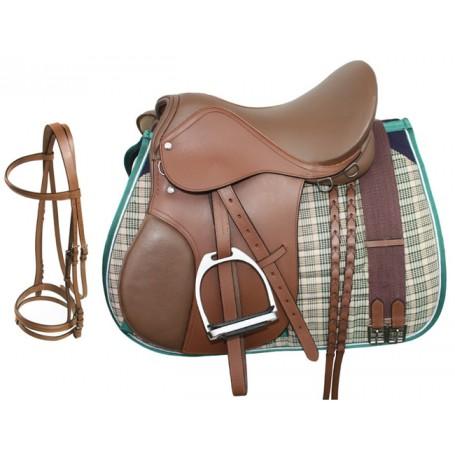 Tan Leather English Horse Saddle Tack Pad Package 18