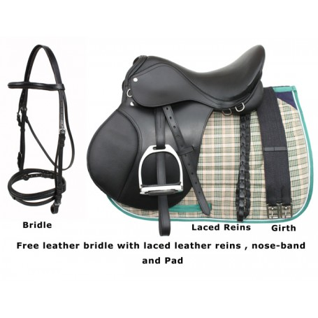 Black Leather English Horse Saddle Tack Pad Package 16 18