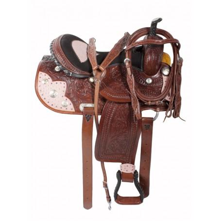 Ostrich Pink Western Barrel Racing Horse Saddle 16