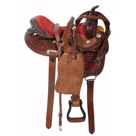 Western Horse 16 Red Seat Rough Out Barrel Racing Saddle